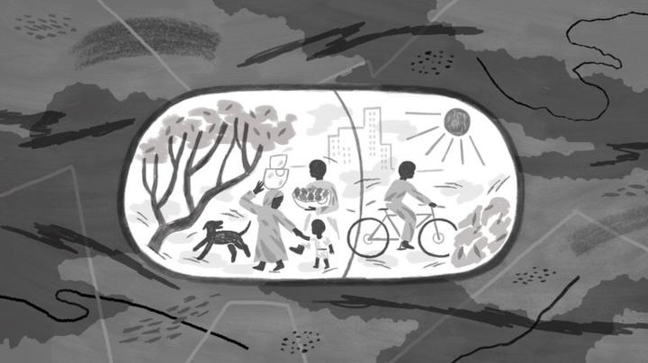 Black and white drawing of children and family in Africa