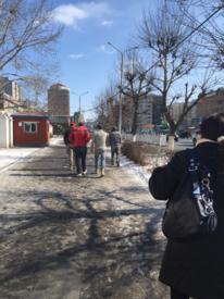 Walking near city center on International Women Day