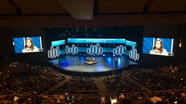 Melinda Gates speaking at the Global Leadership Summit